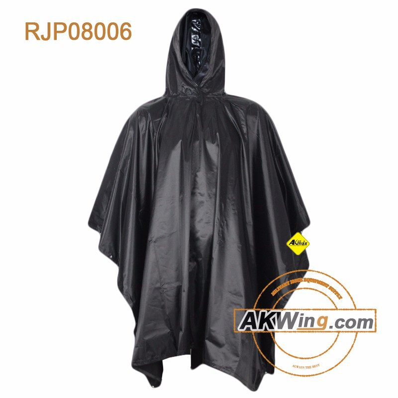 Outdoor Black Military Raincoat Police Rain Poncho With Tents Purpose