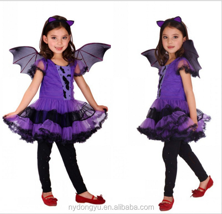 Girl bat cosplay costume/dyl 2-14 year old gril Halloween Christmas party makeup clothes/ Cosplay Costume