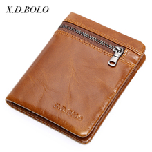 GuangZhou Manufacturer European Design Vintage Card Holder Bifold Mens Leather Wallet with Coin Zip