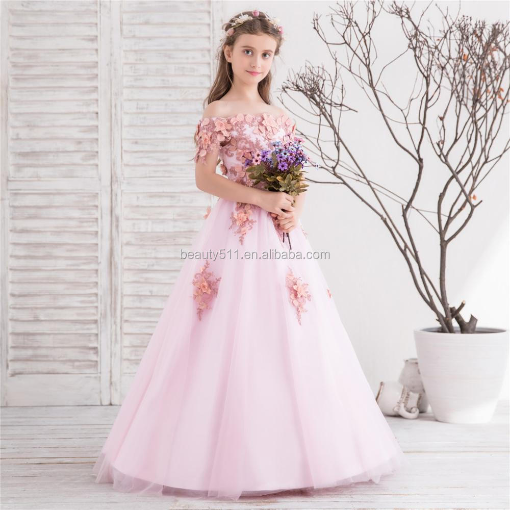 2018 New full-length ball gown flower girl dress occasion party birthday wedding princess pink lace kids flower girl dress