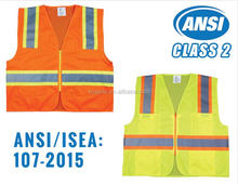 ANSI Class 2 Two Tone High Visibility Safety Vest with Reflective Strips and Pockets