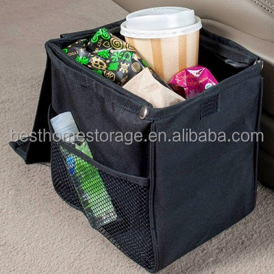 Oxford Car Trash Bin Organizer With Mesh Pocket,(Black)