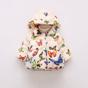 2018 Autumn Winter New Arrival Hooded cotton-padded childern's down jaket Butterfly print