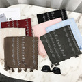 Ladies fashion solid plain cotton blend tassel scarf