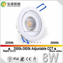 Norge 32mm height warm dim recessed cob led downlight 8w Vanern 2000-2800K CCT change IP44