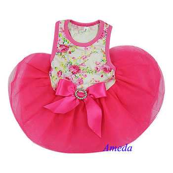 White Hot Pink Rose Flower Crystal Bow Party Dress Small Pet Dog Cat Clothes XS-L