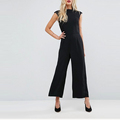 High neck cinched waist wide legs zip back formal jumpsuits