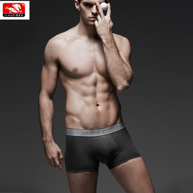 good quality cotton spandex customized your logo wholesale sexy men grey underwear boxer