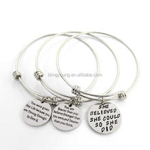 Custom jewelry factory charms silver cuff bracelets for women