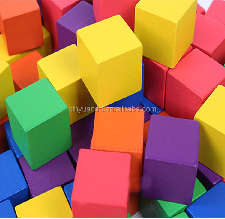 Wholesell colorful 8mm wooden cube cheapest kids toy wooden block wooden cube