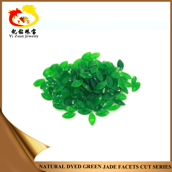 Hot sale marquise shape dyed green nephrite jade stones necklace jade