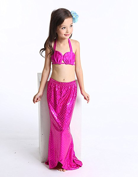New Fashion 3 Pieces Baby Girls Mermaid Tail Beach Wearing Suit Kids Bikini Fancy Dressing