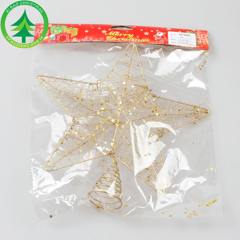 Christmas Tree Ornament Golden Metal Christmas Tree Top Star For Christmas Decoration Supplies