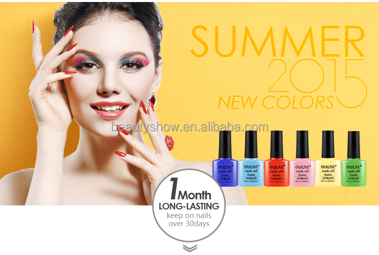 OULAC 2015 summer hot sale colored bottles soak off uv gel nail polish