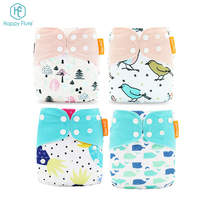 Happy Flute 4pcs set os fast dry bamboo baby diaper waterproof adjustable cloth diaper manfactures in china