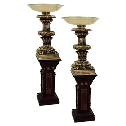 5006 Pair of Bronze & Alabaster Courthouse Judge's Bench Torcheres