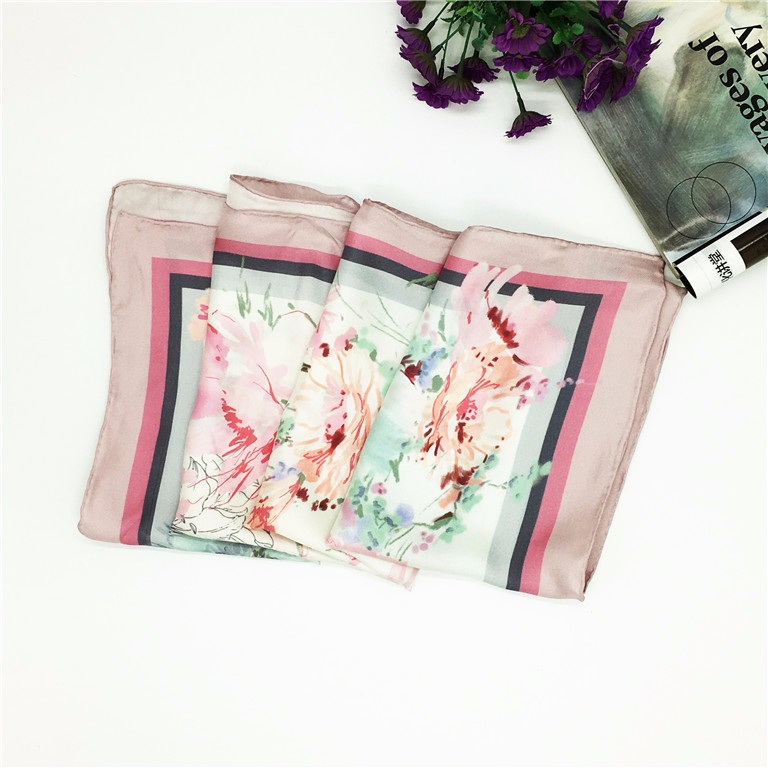 Alibaba Factory Custom Digital Pink Color Printed square silk satin scarf