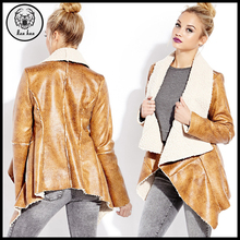 2016 Winter Ladies Beige Faux Leather Shearling Jacket for Women