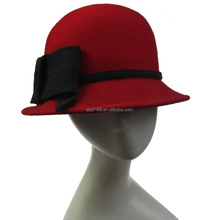 Red wool felt blank wholeale Fedora hats for women party