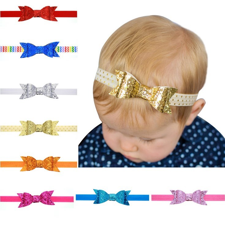 Boutique new fashion 4'' Large Neon Sequined Bows Glued On Baby Elastic Hairbands Kids Sequin Bows Headbands Hair Accessories