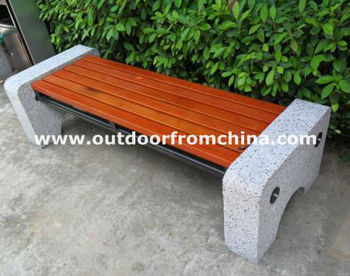 Steel frame/Solid wood/Concrete sides Backless park bench