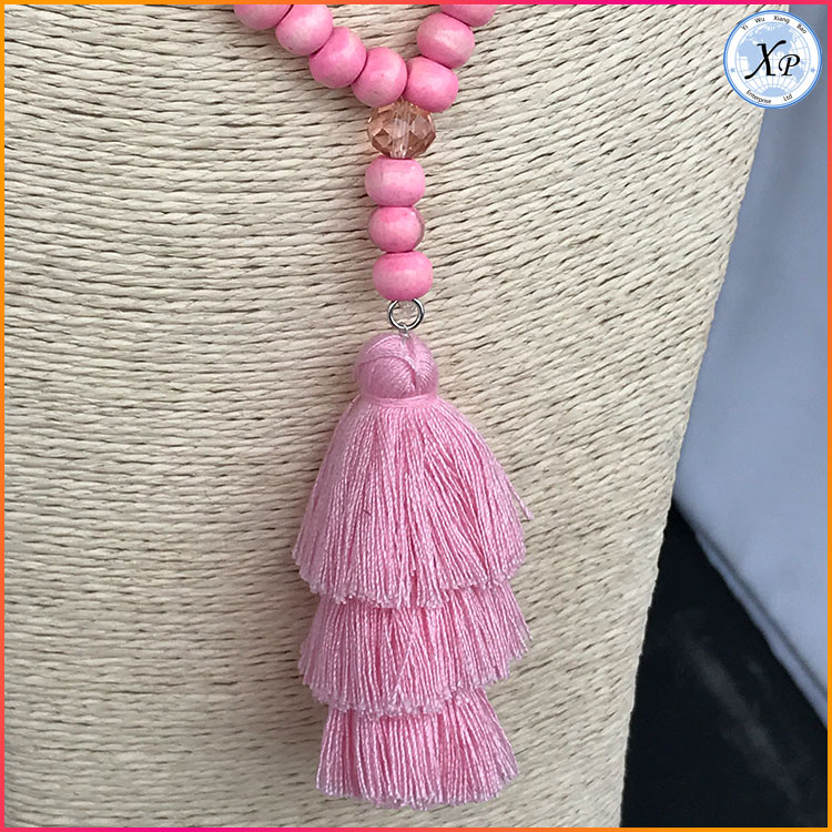 wholesale mala necklace wooden beads tassel necklace with tassel necklace
