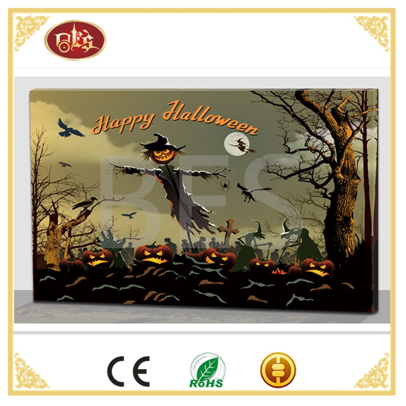 Cartoon halloween decoration LED canvas, kids wall art print picture.