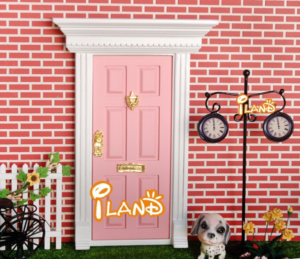 Doll house fairy door Wood Painted Exterior Door W/ Hardware Open Outward Light Pink OA011D-4