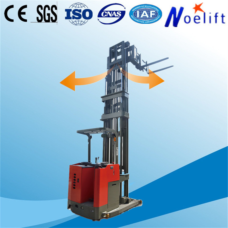 heavy warehouse equipment 3 way electric pallet forklift with side slide battery