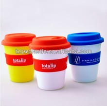 350ml reusable plastic coffee cup with Silicone lids and band