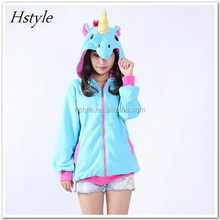 Anime Blue Pink Candy Unicorn Hoodies Animal Horse Hoodie Women Men Costume Adult Sweatshirt Jacket Hoody with Ears HFH012