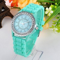 2015 Colorful Fashion Geneva Crystal Diamond Jelly Silicone Watch Unisex Men's Women's Quartz Candy Watches