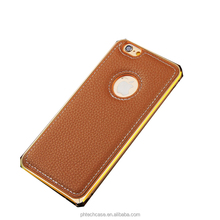 Hot Seller Leather Metal Aluminum Bumper Combo Frame Case For iPhone 6/6 Plus