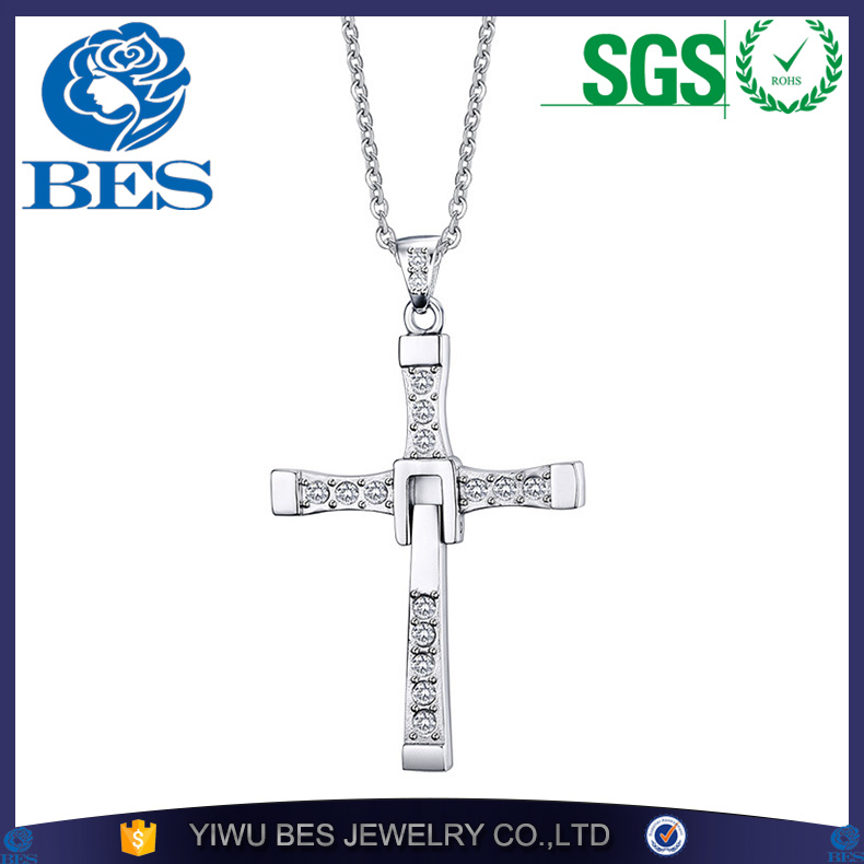 Classic Fast and Furious 7 Moive Necklace Pendant Dominic Toretto Cross Top 316L Stainless Steel with Crystal Pendant for Men