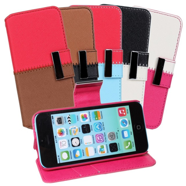 Lovely hybrid stand leather pouch clutch for iphon 5c mobile phone case