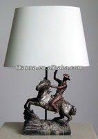 antique resin horse table lamp