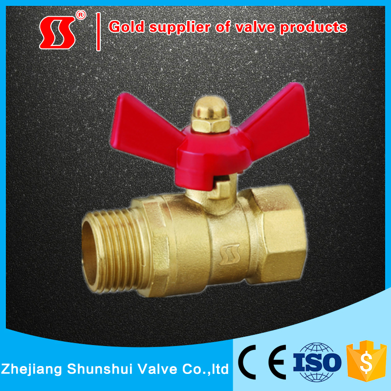 Female Male Thread Butterfly handle Brass ball valve SS2220