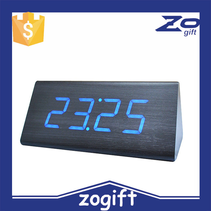 ZOGIFT Desktop Table Clocks Digital LED Square Alarm Wood Wooden clock with temperature display and voice control function