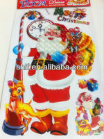 Plush santa claus stuffed christmas decoration toy room wall sticker