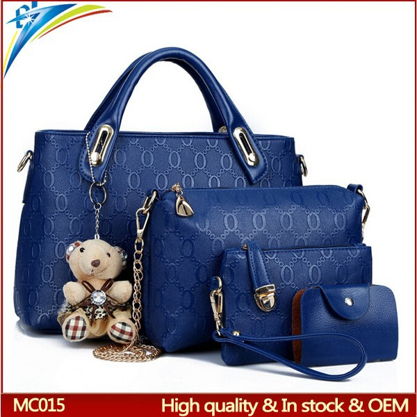 Top selling 2015 fashion women <strong>handbag</strong> 4 pcs sets with bears gift Lady tote bags with outside pockets