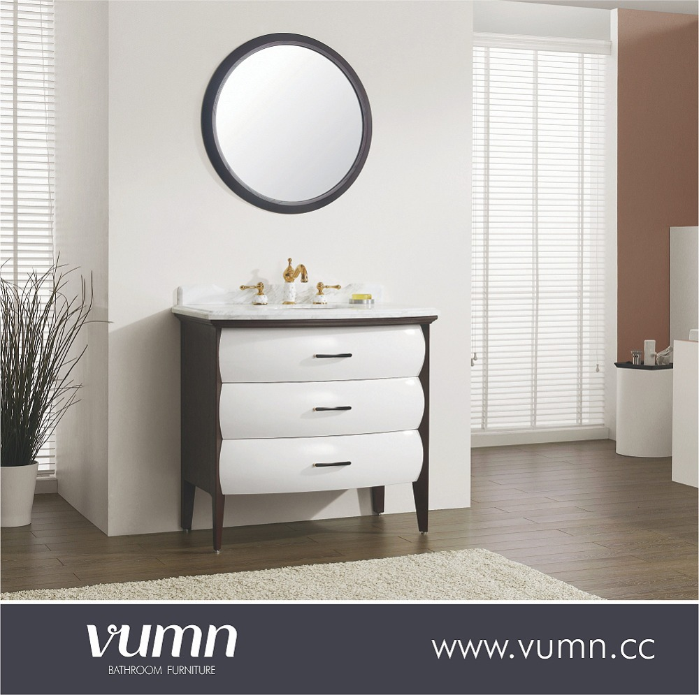 2016 VUMN high quality solid wood bathroom cabinet with 2 drawers blum hinges bathroom cabinet classical bathroom cabinet