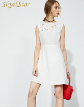Latest best price sleeveless white one piece dating dress applique mini summer dress lady