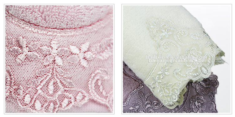 Popular Russian cotton bath towel fabric with lace for gift packing ideas