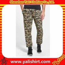 Custom brand quality cotton elastic waist bulk fashion men black camo pants