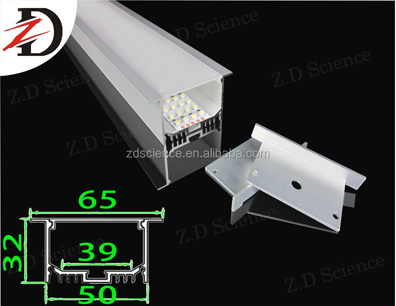 High Quality China Recessed Aluminim Profile For LED Strips Quad Line , Big Size Aluminum Profile