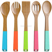 5pcs Bamboo Utensil with Silicone handle/Chinese factory bamboo ware