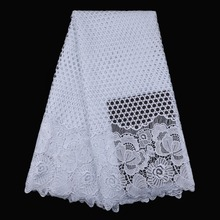 White embroidery designs African lace fabrics high quality guipure cord lace chemical lace fabric