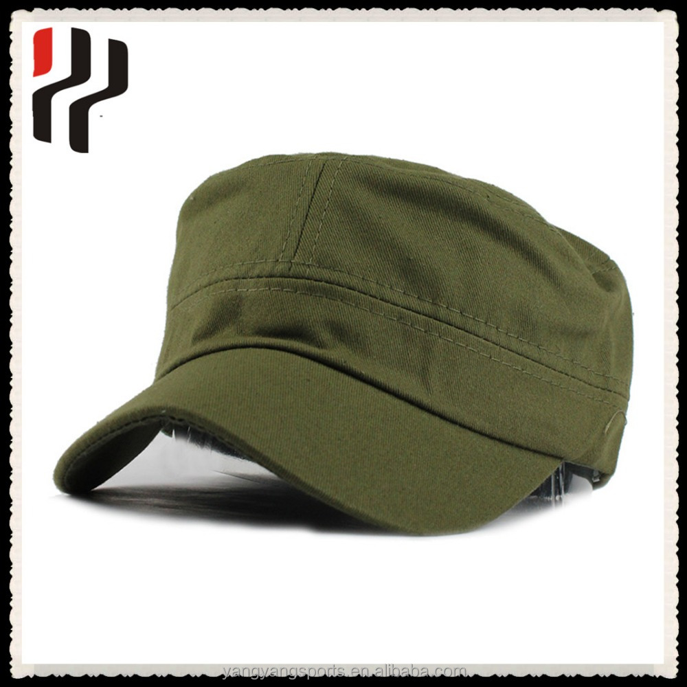 Factory price ! hot sale plain army cap flat top cap custom military cap , embroidery army military hats,embroidered round cap