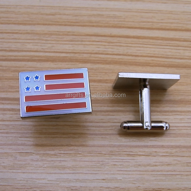 custom flag design enamel metal cufflinks with epoxy