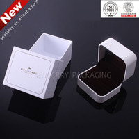 Promotional white jewellery box with flocking insert certificated by ISO,SGS,BV